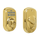 Schlage BE365 Plymouth Design Pushbutton Deadbolt in a Bright Brass Finish