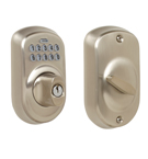 Schlage BE365 Plymouth Design Pushbutton Deadbolt in a Satin Nickel Finish