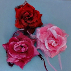 SILK FLOWERS IN THE RED HAIRCLIP