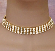 RHINESTONE ROMANCE GOLD CHOKER SET<BR>1 SET REMAINING