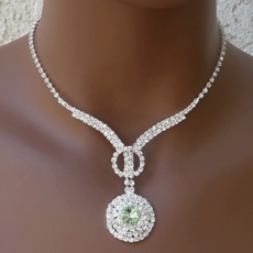 CENTER POINTE LIGHT GREEN RHINESTONE NECKLACE SET - 1 REMAINING SET