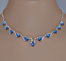 PURE MAGIC MEDIUM BLUE COSTUME JEWELRY RHINESTONE SET