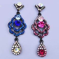GYPSY TEARS FUCHSIA RHINESTONE EARRINGS