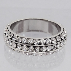 THREE IN A ROW CZ CUBIC ZIRCONIA<BR>WEDDING BAND RING<BR>size 6, size 7, size 8