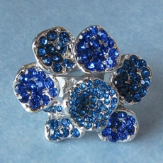 GLITTER ME BLUE RHINESTONE <BR>COSTUME JEWELRY RING