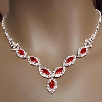ROSANTI RED RHINESTONE JEWELRY SET