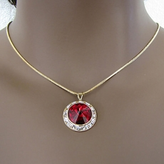 PROMISE CZ CUBIC ZIRCONIUM RED PENDANT JEWELRY SET ON GOLD - 2 REMAINING