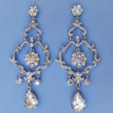 SPECTACULAR RHINESTONE 4 INCH CHANDELIER EARRINGS