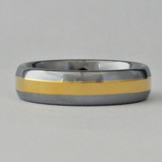 MEN'S TUNGSTEN RING w' GOLD TRIM<br>Size 12-1/2, 13-1/2, 14-1/2 - TEMP SOLD OUT