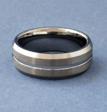 MEN'S TUNGSTEN RING - CENTER SLIT<br>Size 13-1/2 - SOLD OUT