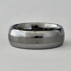 MEN'S TUNGSTEN RING - SILVER BAND<br>Size 11-1/2, 12-1/2, 14
