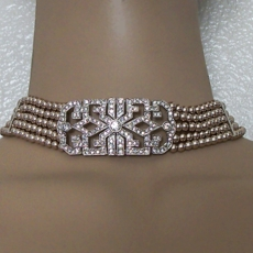 REIGNING QUEEN CHAMPAGNE FAUXPEARL CHOKER<BR>EARRINGS NOT INCLUDED