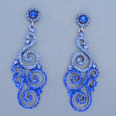 PARISIAN DELIGHT <BR>BLUE CHANDELIER EARRINGS