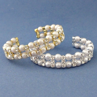 COMPLIMENT PEARL GOLD-IVORY CUFF BRACELET - SOLD OUT OF SILVER-WHITE