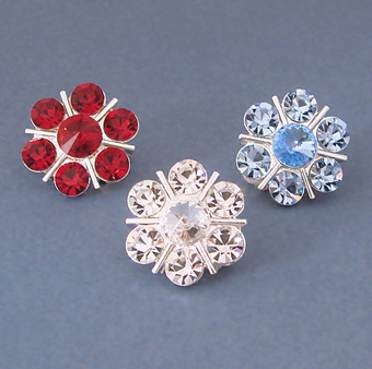 BIG TEASE CRYSTAL CLIP-ON EARRINGS<br>ONE RED AND SIX  BLUE PAIRS REMAINING<BR>SOLD OUT OF CLEAR