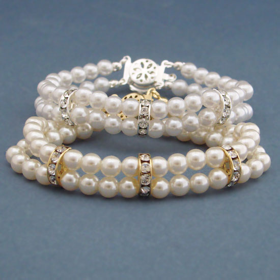 881631d695bcd DOUBLE STRAND FAUX PEARLS BRACELET FOR THE BRIDE
