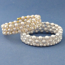 THREE ROW PEARL WRAP GOLD-IVORY BRIDAL BRACELET - SOLD OUT OF WHITE-SILVER