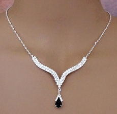 ELEGANT DROP BLACK RHINESTONE SET