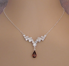 INDULGE CRYSTAL TOPAZ RHINESTONE JEWELRY NECKLACE SET