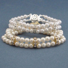 DOUBLE STRAND FAUX PEARLS BRACELET FOR THE BRIDE