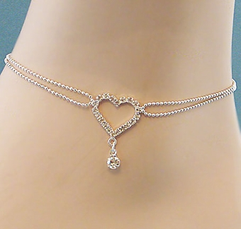 DOUBLE STRAND HEART ANKLETS