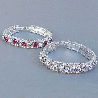 RODEO DRIVE RHINESTONE BRACELETS<BR>CLEAR-AB AND FUCHSIA-CLEAR