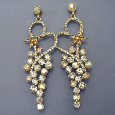 GLORIA GOLD CLEAR-AB CHANDELIER EARRINGS