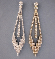 LAYERED BEAUTY RHINESTONE SILVER EARRINGS<BR>SOLD OUT OF GOLD; ONLY SILVER REMAINING