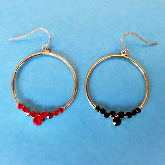 RHINESTONE HOOPS BLACK-GOLD EARRINGS<br>RED SOLD OUT