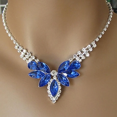 ROYAL BLUE HAZE RHINESTONE NECKLACE AND EARRINGS SET