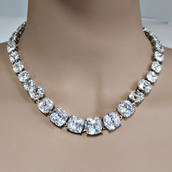 Cubic Zirconia Jewelry Sets : Cubic zirconia cz jewelry in a row necklace and earrings set