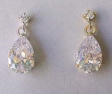LOLLIPOP CZ CUBIC ZIRCONIA CRYSTAL EARRINGS - ONLY GOLD REMAINING