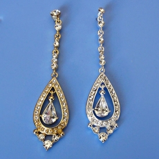 PERFECT DAY GOLD RHINESTONE LONG DANGLING EARRINGS