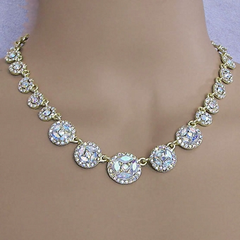 GOLDEN FOX RHINESTONE JEWELRY NECKLACE AND EARRINGS SET