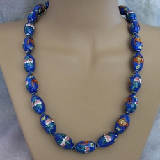 VINTAGE JEWELRY BLUE ORIENTAL BEADED NECKLACE