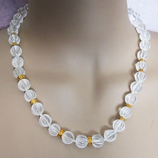 VINTAGE JEWELRY NECKLACE CLEAR AND GOLD BEADS