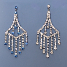 TRENDY RHINESTONE EARRINGS - ROYAL BLUE OR CLEAR