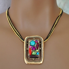 VINTAGE CHICO'S RECTANGULAR RADIANCE NECKLACE JEWELRY