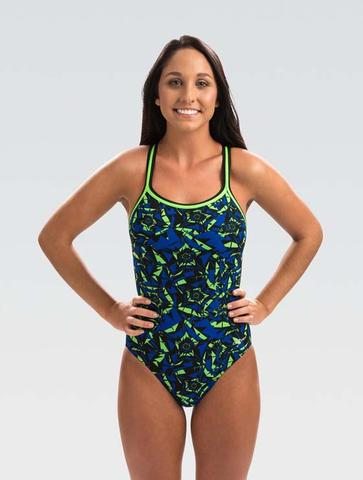 Womens Reliance Blue/Green Energy String Back One Piece Swimsuit 2020