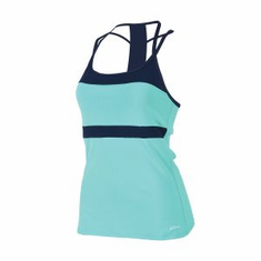 T-STRAP TANKINI TOP MINT/NAVY