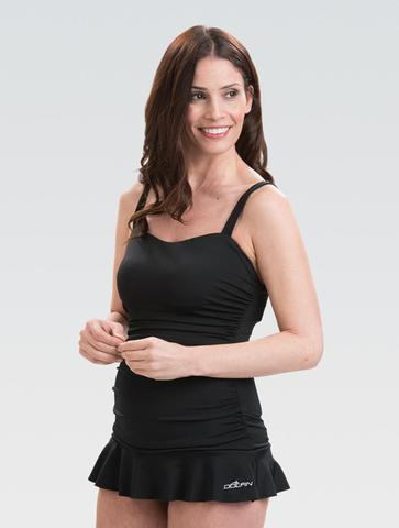 Womens AQUASHAPE Solid Black Sweetheart Swimdress