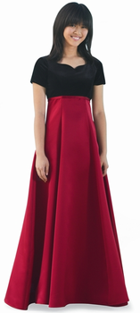 Youth Gavotta Dress<br>Formal Satin & Black Velvet Gown