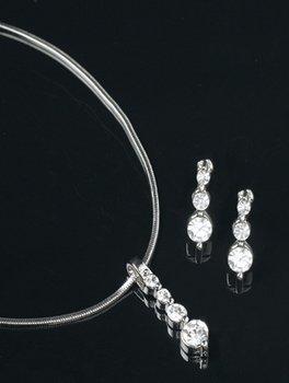 Triple Drop Earrings and Necklace Set
