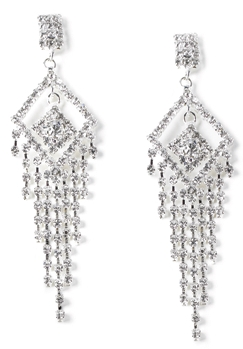 Rhinestone Diamond Shape Chandelier Earrings