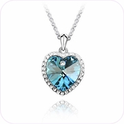 Heart of Aqua Crystal Pendant Necklace #24097