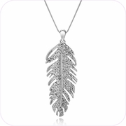 Silver Plated Feather Pendant Necklace #24138