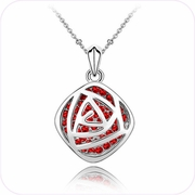 Red Passion Rosette Pendant Necklace #24174