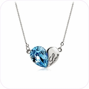 Blue Crystal Heart Pendant Necklace #24257