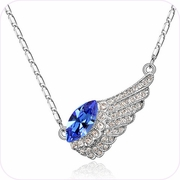 Glittering Blue Wing Pendant Necklace #24305