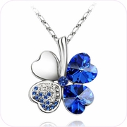 Blue Four Leaf Clover Crystal Pendant Necklace #29554